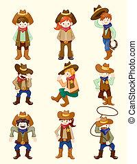 cow-boy, dessin animé, icône