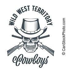 cow-boy, fusils, crâne, traversé, chapeau
