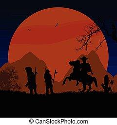 cow-boy, indiens ouest, américain, sauvage, indigène