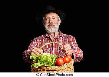 cow-boy, légumes, chapeau noir, tenue, panier, frais, homme aîné, beau