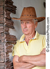 cow-boy, mûrir, portrait, gentil, chapeau, homme