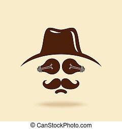 cow-boy, moustache, icône