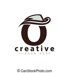 cow-boy, o, vecteur, lettre, logo, chapeau, icône