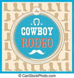 cow-boy, ouest, bottes, décoration, texte, joker
