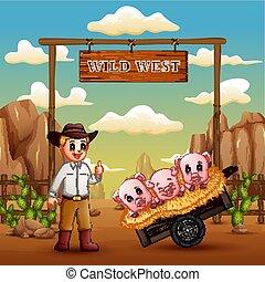 cow-boy, ouest, cochons, beaucoup, sauvage, portail, paysage