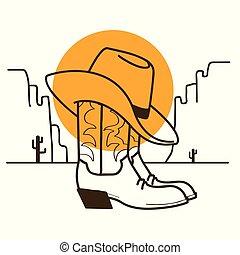 cow-boy, ouest, illustration, américain, bottes, soleil, sauvage, chapeau, désert, occidental