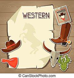 cow-boy, ouest, objets, fond, sauvage, autocollants