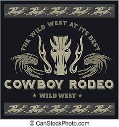 cow-boy, ouest, -, rodeo., emblem., vecteur, sauvage