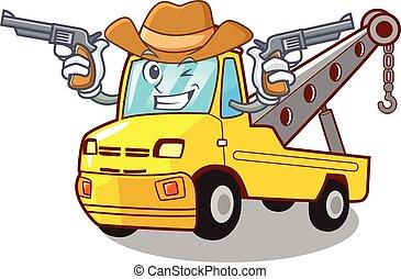 cow-boy, remorquage, isolé, corde, camion, dessin animé