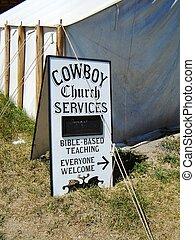 cow-boy, service, église