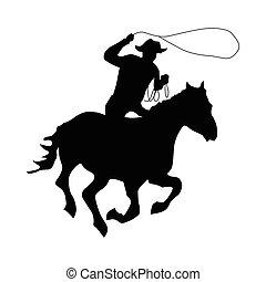 cow-boy, silhouette, noir