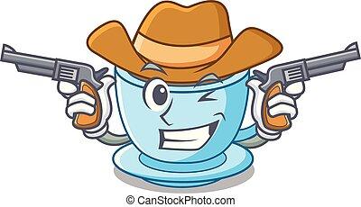 cow-boy, tasse thé, dessin animé, délicieux, lait