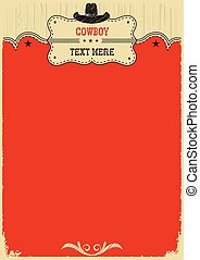 cow-boy, text., décoration, occidental, fond, chapeau
