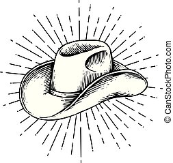 cow-boy, vendange, -, illustration, gravé, vecteur, (hand, dessiné, style), chapeau