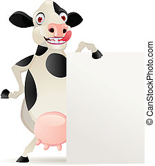 Cow cartoon and blank sign