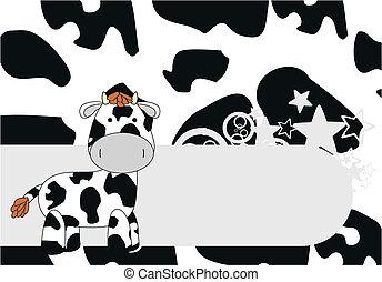 cow  cartoon background in vector format