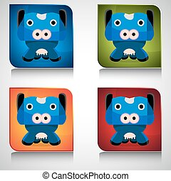 Cow Cartoon Character Button