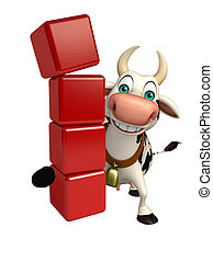 Cow cartoon character with level