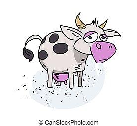 Cow cartoon hand drawn image