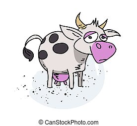 Cow cartoon hand drawn image