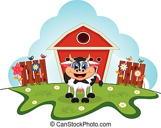 Cow cartoon in a farm for