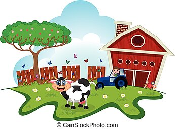 Cow cartoon in a farm