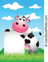 vector illustration of cow with blank sign