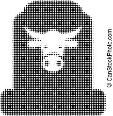 Cow Cemetery Halftone Dotted Icon