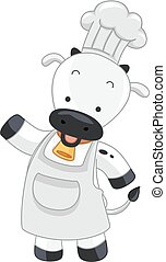 Cow Chef Present Illustration
