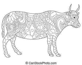 Cow coloring vector for adults