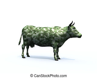 Cow colorized with camouflage material