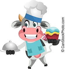 Cow cooking, illustration, vector on white background.
