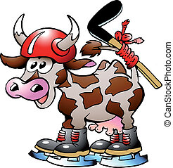 Cow Cow Playing Hockey Sport - Handdrawn vector illustration...