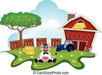 Cow cute cartoon in a farm for your design