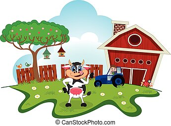 Cow dance cartoon in a farm