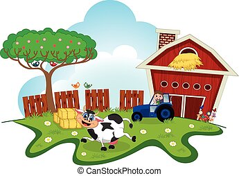 Cow dance cartoon in a farm for you
