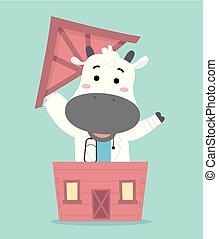 Cow Doc Vet Live Stock Barn Illustration