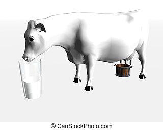 Cow drinking milk out of a glass