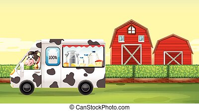 Cow driving milk truck on the farm