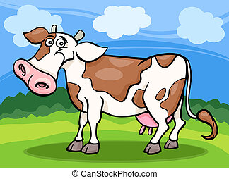 cow farm animal cartoon illustration - Cartoon Illustration ...