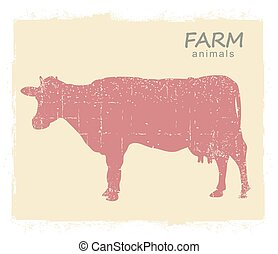 Cow Farm animal silhouette. Vector vintage symbol cow on old paper background