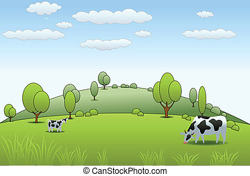 Cow farm and hilly background with lush green grass