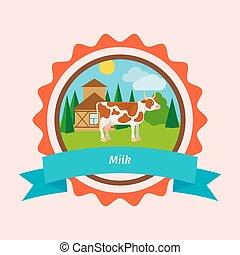 Cow flat milk label design