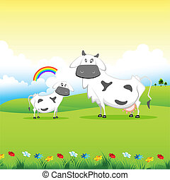 Cow grazing in field - illustration of cow grazing in field...