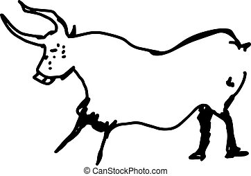cow hand drawn doodle sketch with black lines vector illustration isolated on white background