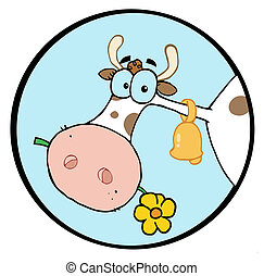 Cow Head Chewing On A Flower