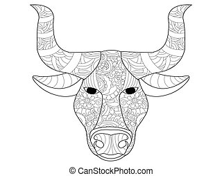 Cow head coloring vector for adults