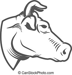 Cow head icon isolated on white background. Design elements for logo, label, emblem, sign. Vector illustration