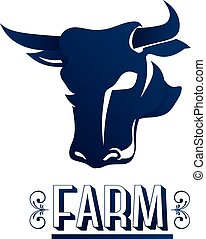 Cow head logo farm. Vector graphic design