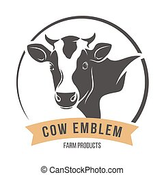 Cow head silhouette emblem label. Vector illustration. - Cow...